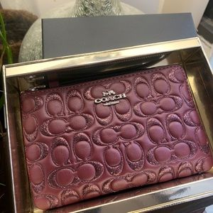 Authentic Coach Quilted leather logo wristlet NIB